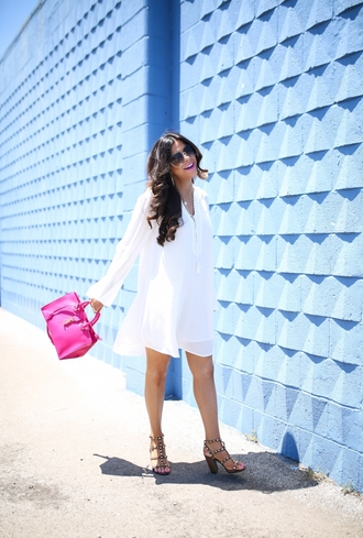 dress sunglasses tumblr mini dress white dress long sleeves long sleeve dress bag pink bag sandals sandal heels high heel sandals shoes