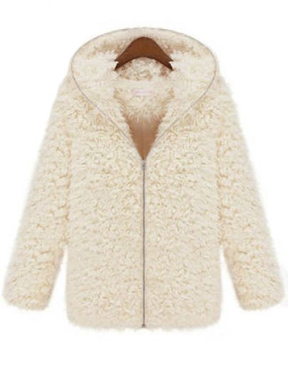 White Hooded Long Sleeve Zipper Fur Outerwear - Sheinside.com
