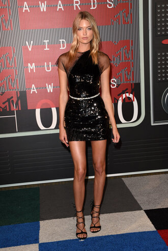 dress sequins sequin dress black dress little black dress mini dress sandals vma martha hunt shoes