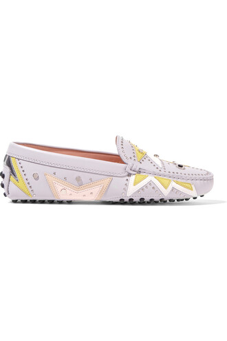 embellished loafers leather light shoes