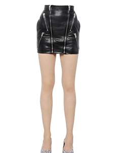 LUISAVIAROMA.COM - SAINT LAURENT - ZIPPED NAPPA LEATHER MINI SKIRT