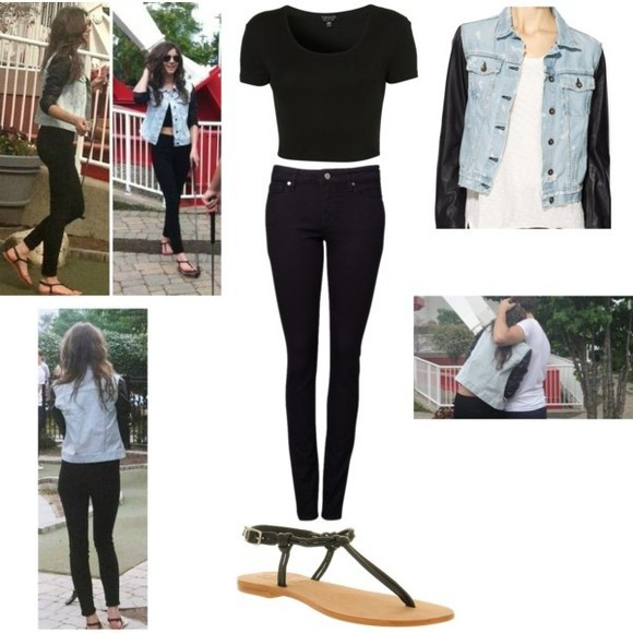 shoes flat sandals jacket bomber jacket eleanor calder black cropped black t shirt high waisted jeans