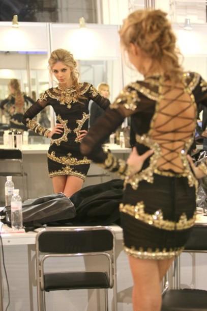 dress sequin dress gold black lace up detail black and gold dress