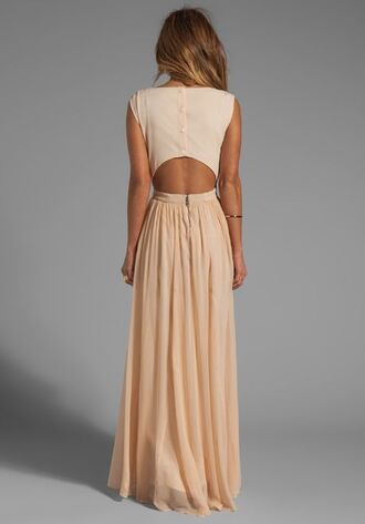 dress maxi peach long backless button cute sexy lovely classy bag peach; long open back dresses beige dress open back nude dress maxi dress
