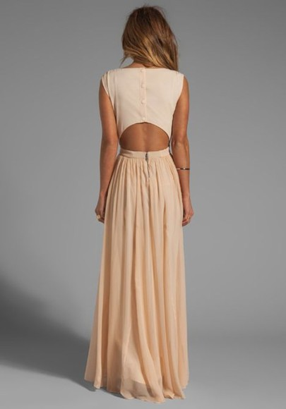 dress maxi dress beige dress maxi peach long backless button cute sexy adorable classy bag peach; long simple open back dress open back open back dresses nude dress
