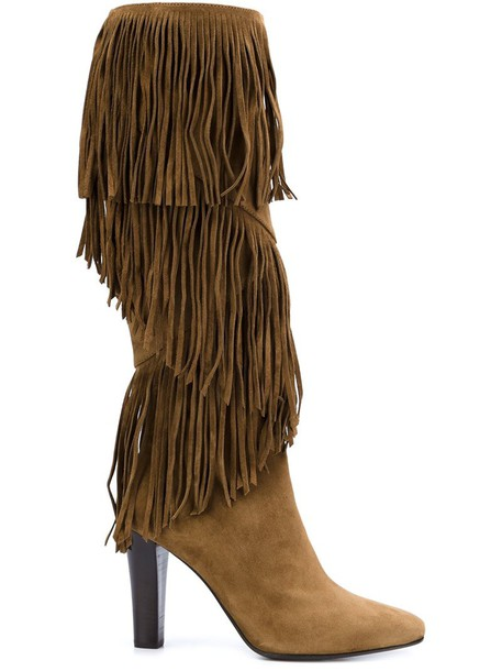 Saint Laurent women boots leather suede brown shoes