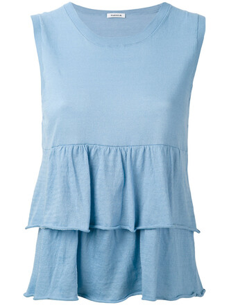 top pleated women cotton blue