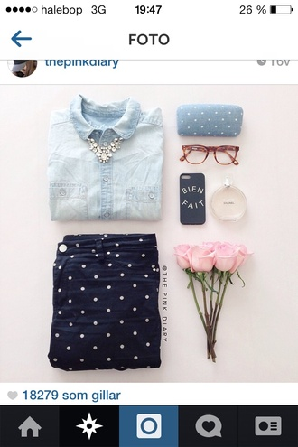 jeans polka dots black jewels shorts cute bag dress polka navy blue shirt back to school denim shirt phone cover