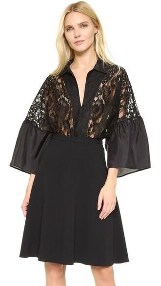 shirt polo shirt lace black top