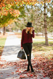 ivory lane,blogger,top,jeans,shoes,hat,bag,felt hat,handbag,black jeans,thanksgiving outfit,burgundy,black hat,givenchy,givenchy bag