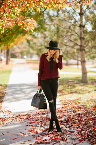 ivory lane blogger top jeans shoes hat bag felt hat handbag black jeans thanksgiving outfit burgundy black hat givenchy givenchy bag