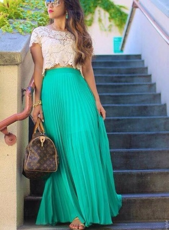 skirt t-shirt shirt bag louis vuitton teal maxi skirt lace handbag sunglasses