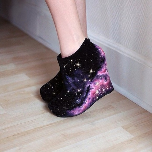 star white stars blue galaxy shoes print girly cute pretty navy black purple galaxy shoes high heels high wedges fancy pastel pattern casual spring fall winter weather shoe