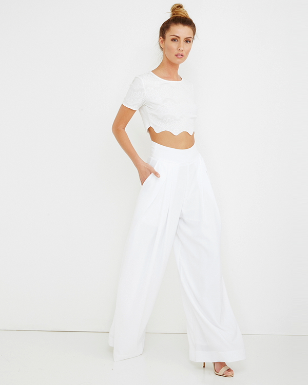 WITH THE FLOWY Wide Leg Pant in White at FLYJANE
