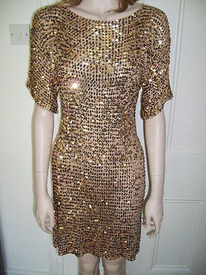 Wallis gold / bronze sparkly sequinned dress