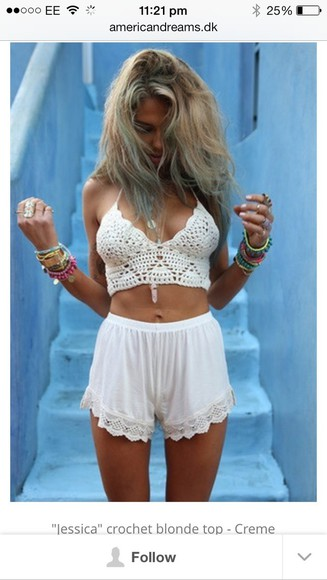 lace shorts lace crop tops crop top bralette skater skirt cropped bralette top #classy #summer #white #girly festival festival jewelry festivalfashion