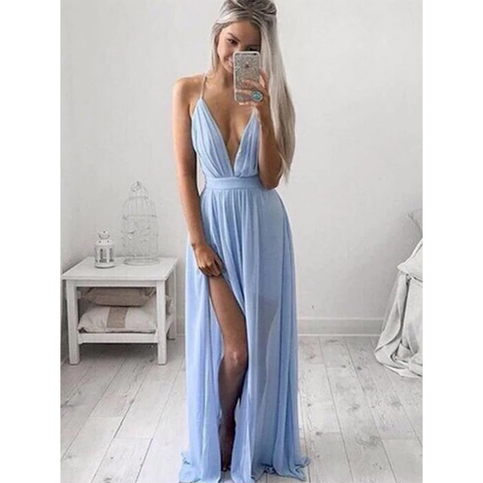 Sexy Deep V-neck Open Back Spaghetti Straps Prom Dress, Mist Blue Long Front Split Long Prom Dress, Criss Cross A-line Chiffon Prom Dress, #020102501 on Storenvy