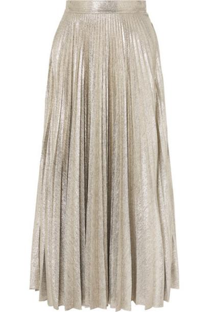 Emilia Wickstead - Sunshine Pleated Stretch-lurex Midi Skirt - Silver