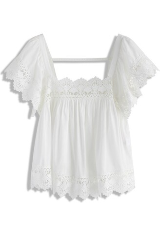 top smock top lace white