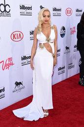 dress,gown,billboard music awards,white,prom dress,rita ora,cut-out,celebrities in white