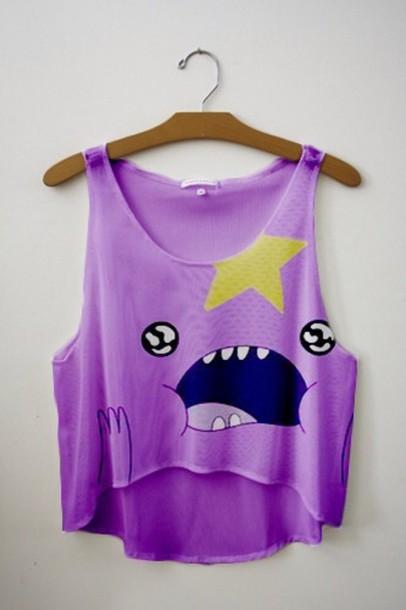 shirt lumpy space princess lsp adventure time tank top top fresh shop purple t-shirt skirt hora de aventuras princesa bultos adventure time shirt purse