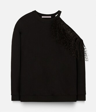 sweatshirt feathers black sweater