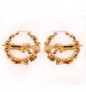 jewels,bamboo earrings,earrings,gold,gun,gun earrings,hoop earrings,gold earrings,jewelry,dress,wedding dress,prom dress,gown