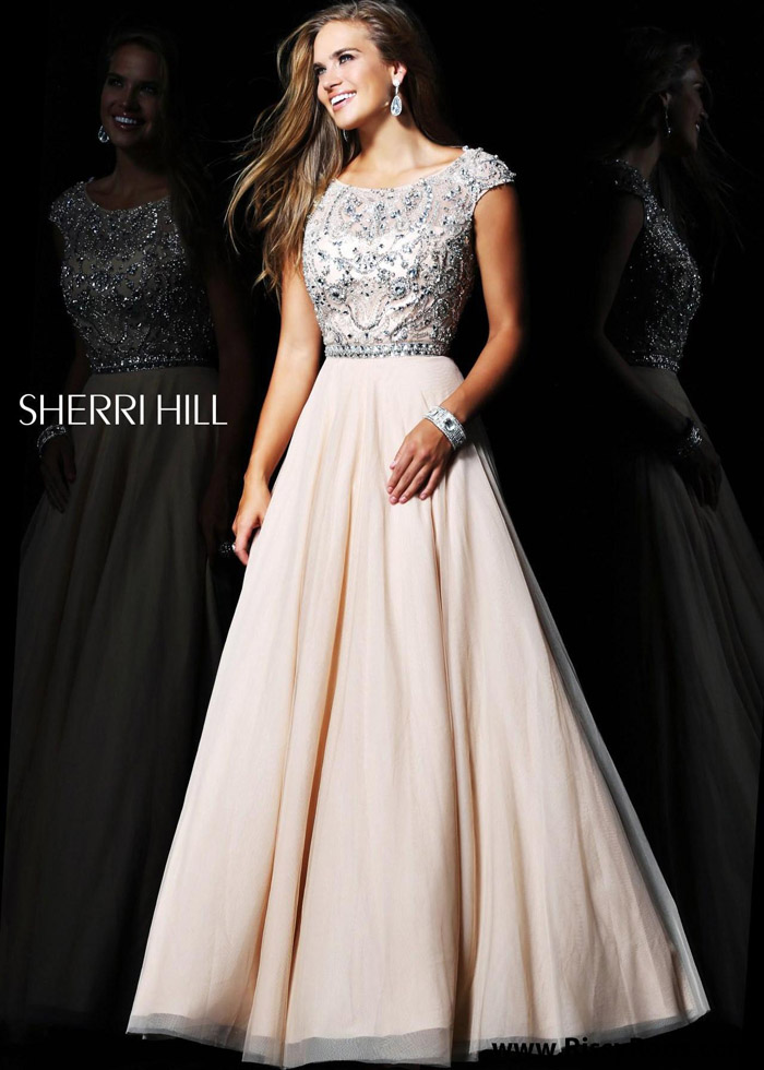 Beaded jeweled top cap sleeves nude prom gown beaded jeweled nude