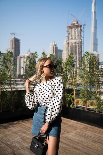 a style diary blogger top skirt bag jewels sunglasses spring outfits polka dots denim skirt