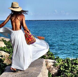 bag white maxi maxi dress beach dress straw hat mochila wayuu