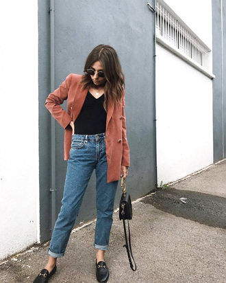 jacket tumblr blazer top black top fall outfits denim jeans blue jeans mom jeans shoes loafers black loafers