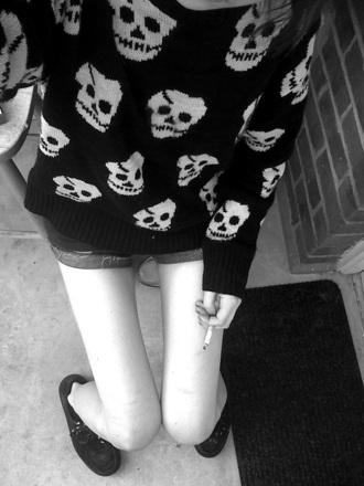 sweater skulls black jumper clothes knitted sweater skull
