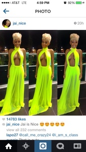 dress,bright,keyhole dress,neon,neon dress,yellow,instagram,sexy,titties,long prom dress,sexy dress