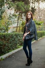the bow-tie,blouse,jeans,jacket,shoes,bag