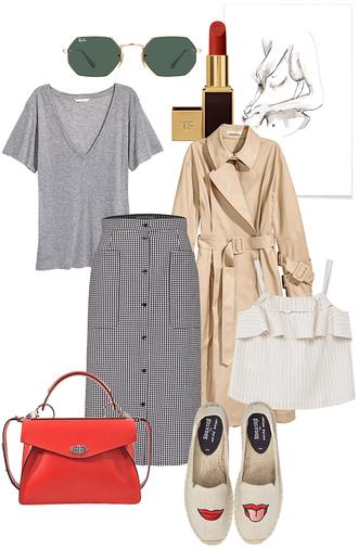 teetharejade blogger sunglasses make-up shirt skirt top bag shoes grey t-shirt red bag spring outfits lipstick trench coat