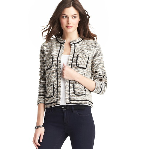 Tipped Tweed Open Jacket | Loft