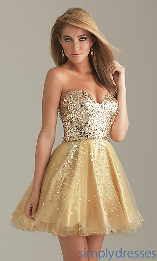 Short gold party dress, gold sequin prom dresses