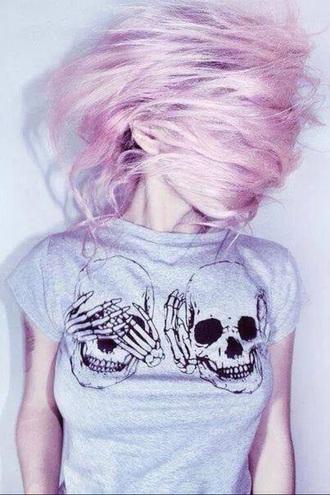 t-shirt skull grey t-shirt grunge pale goth pastel grunge t-shirt skull t-shirt pastel goth pink hair pastel hair