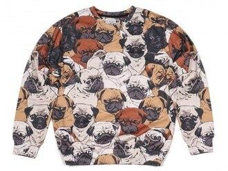 sweater fall sweater winter sweater pugs dog print all over print full print funny funny sweater fusion