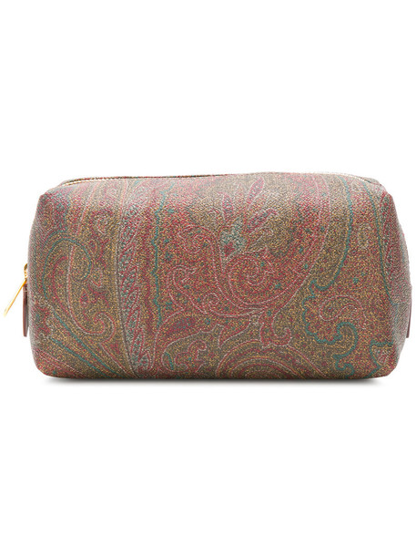 ETRO embroidered women bag leather cotton brown paisley
