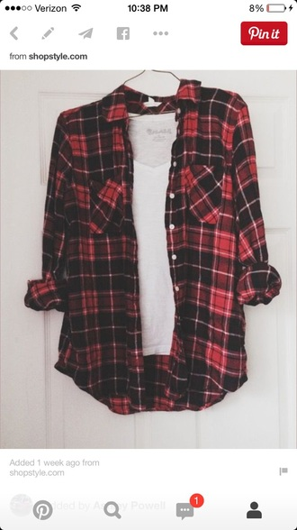 blouse red plaid button up flannel shirt
