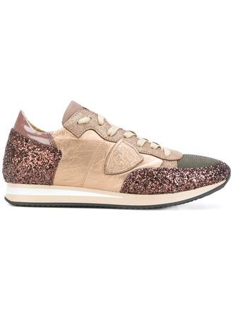 glitter women sneakers leather bronze shoes