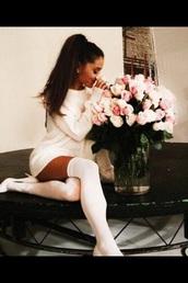 ariana grande,white heels,heels,socks,white dress,white,white high heels,white shirt,white shoes,white sweater,comfy,classy,high heels,high,high socks,knee high socks,knee high,all white everything