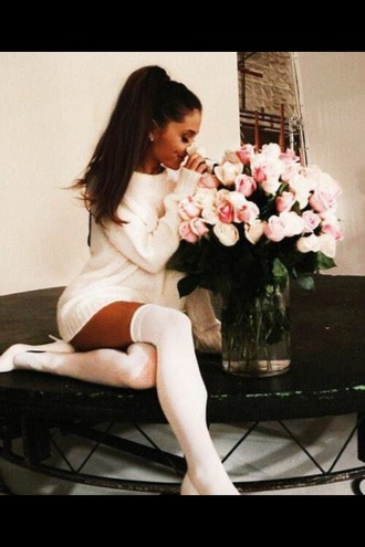 ariana grande white heels heels socks white dress white white high heels white shirt white shoes white sweater comfy classy high heels high high socks knee high socks knee high all white everything louboutin topshop nastygal chanel
