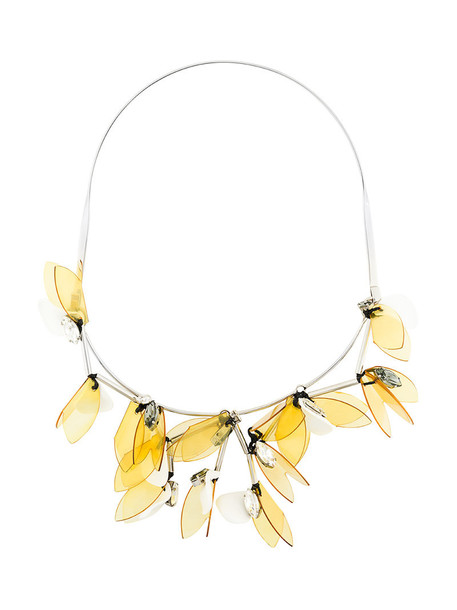 women necklace floral yellow orange jewels