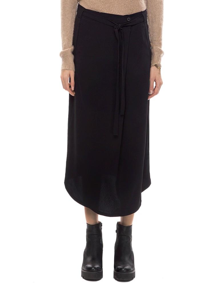 Black wrap tie midi skirt