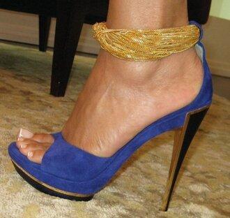 shoes high heels chain high heels blue high heels gold rope high heels