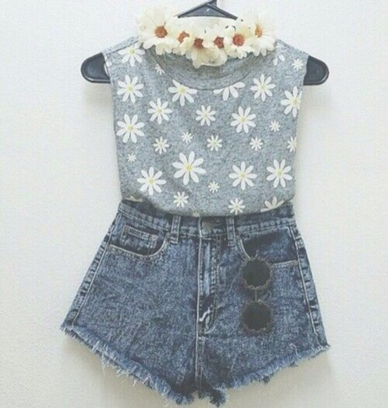 top daisy flowers print floral t shirt