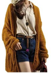 cardigan,open front sweater,open front cardigan,mustard brown sweater,mustard brown,chunky knit sweater,oversized sweater,sweater with pockets,www.ustrendy.com,mustard,sweater