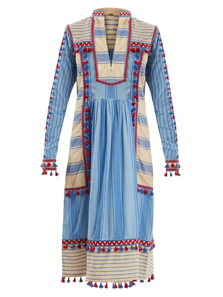 dress embroidered cotton blue